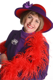 Sue Ellen Cooper, The Exalted Queen Mother of the Red Hat Society.