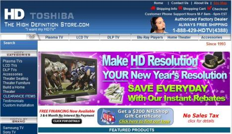 It's clear from web graphics like these, that most companies are not marketing high-definition TVs to the mature market (or, they just don't understand the market).